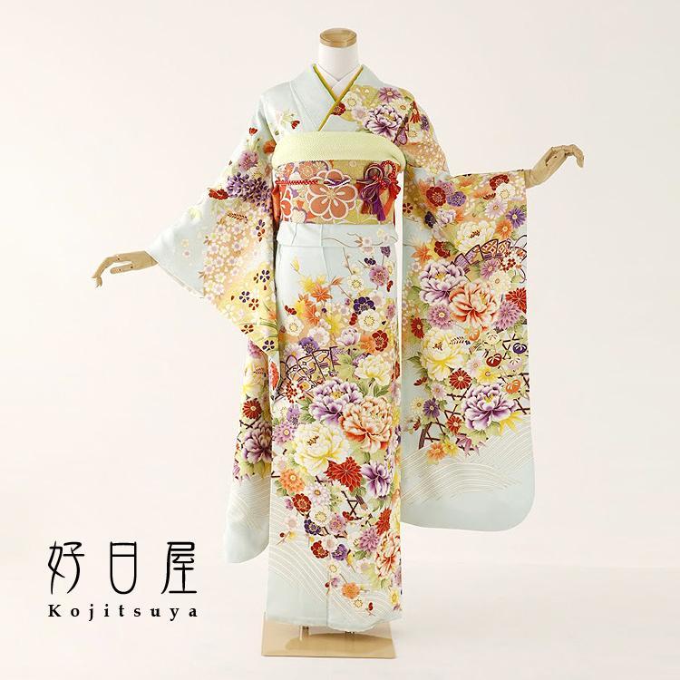 振袖 レンタル フルセット 正絹 着物 結婚式 成人式 身長159-174cm 青 bl-034|kojitsuya