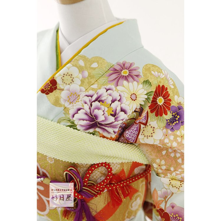 振袖 レンタル フルセット 正絹 着物 結婚式 成人式 身長159-174cm 青 bl-034|kojitsuya|03