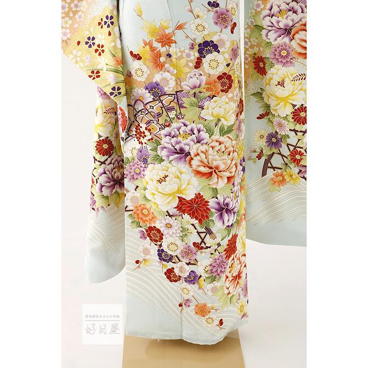 振袖 レンタル フルセット 正絹 着物 結婚式 成人式 身長159-174cm 青 bl-034|kojitsuya|04