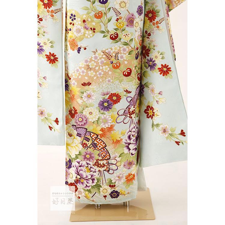 振袖 レンタル フルセット 正絹 着物 結婚式 成人式 身長159-174cm 青 bl-034|kojitsuya|06