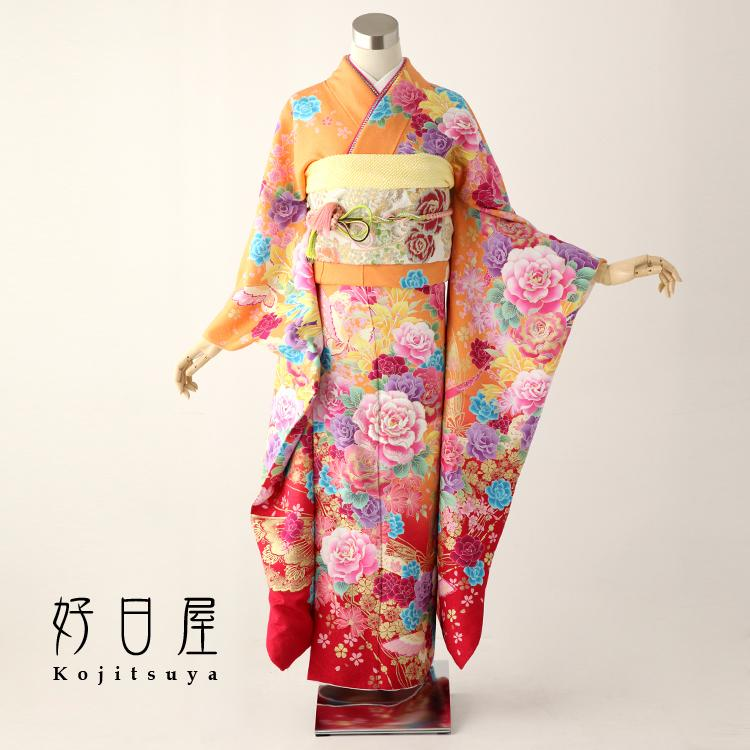 振袖 レンタル フルセット 正絹 着物 結婚式 成人式 身長157-172cm オレンジ or-001-s