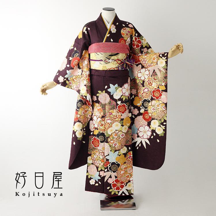 振袖 レンタル フルセット 正絹 着物 結婚式 成人式 身長148-163cm 紫 pu-025-s