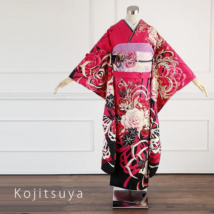 振袖 レンタル フルセット 正絹 着物 結婚式 成人式 身長150-165cm 赤 re-033-s