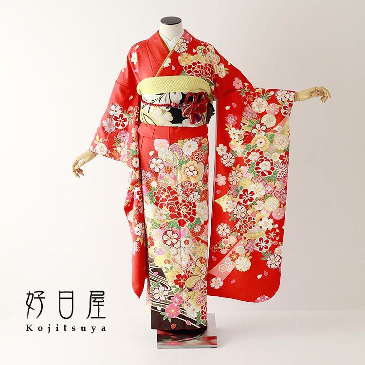 振袖 レンタル フルセット 正絹 着物 結婚式 成人式 身長150-165cm 赤 re-071-s