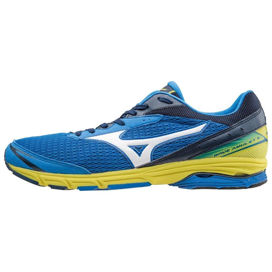 ミズノ マラソン ランニングシューズ ウエーブ アミュレット 5/WAVE AMULET 5/カラー:ブルー×シルバー×イエロー/J1GA148103
