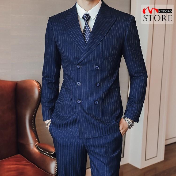メンズ  3ピーススーツ ダブルスーツ 6つボタン スリーピース スリーピー ビジネススーツ 紳士 ストライプ柄 細身 通勤 結婚式 卒業式 kokoro1090