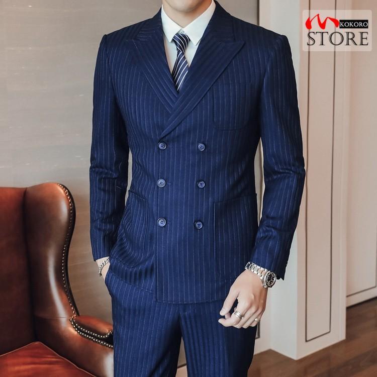 メンズ  3ピーススーツ ダブルスーツ 6つボタン スリーピース スリーピー ビジネススーツ 紳士 ストライプ柄 細身 通勤 結婚式 卒業式 kokoro1090 02
