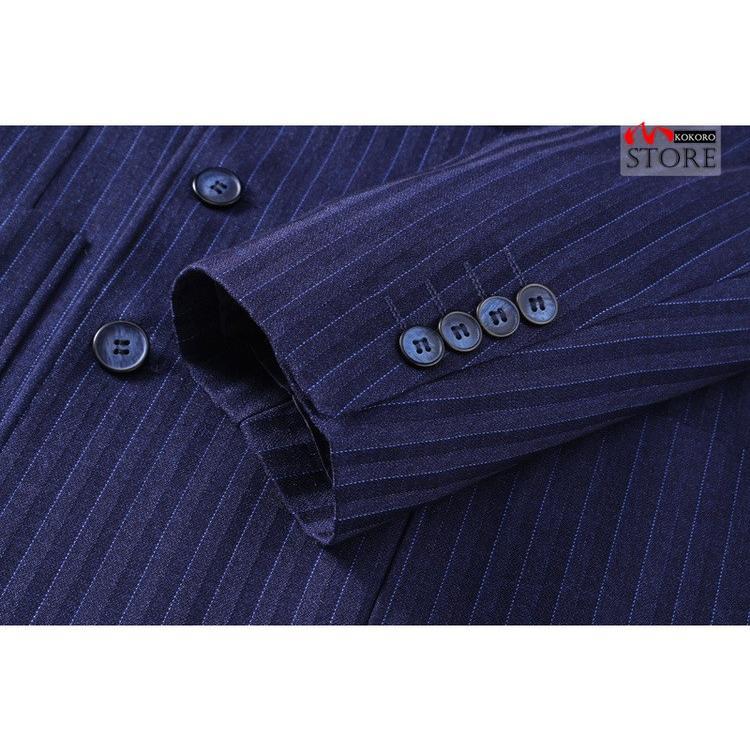 メンズ  3ピーススーツ ダブルスーツ 6つボタン スリーピース スリーピー ビジネススーツ 紳士 ストライプ柄 細身 通勤 結婚式 卒業式 kokoro1090 13