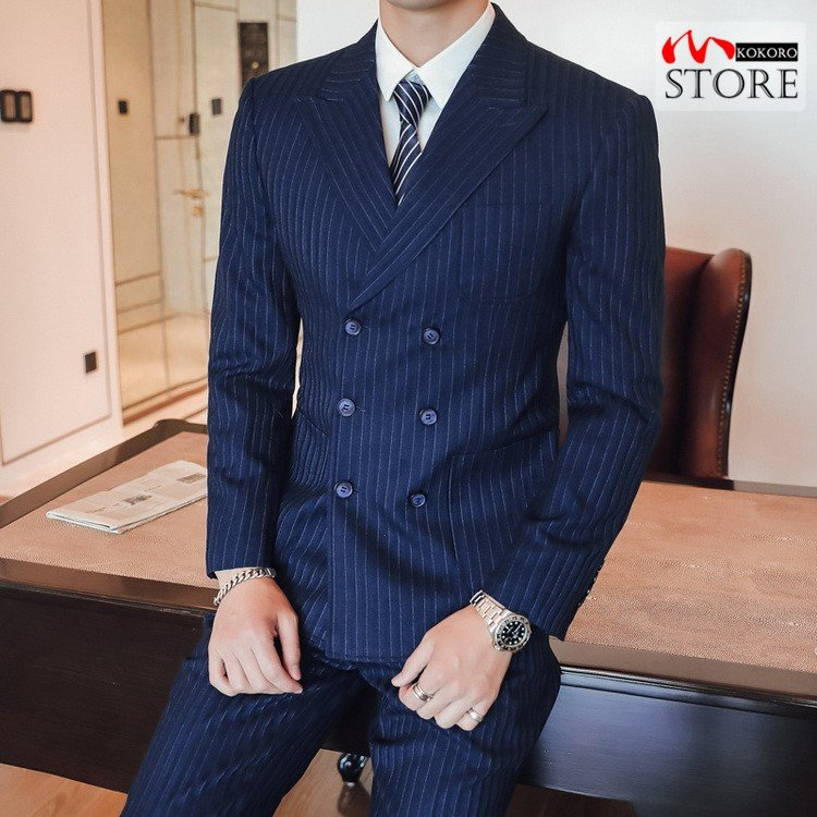 メンズ  3ピーススーツ ダブルスーツ 6つボタン スリーピース スリーピー ビジネススーツ 紳士 ストライプ柄 細身 通勤 結婚式 卒業式 kokoro1090 21