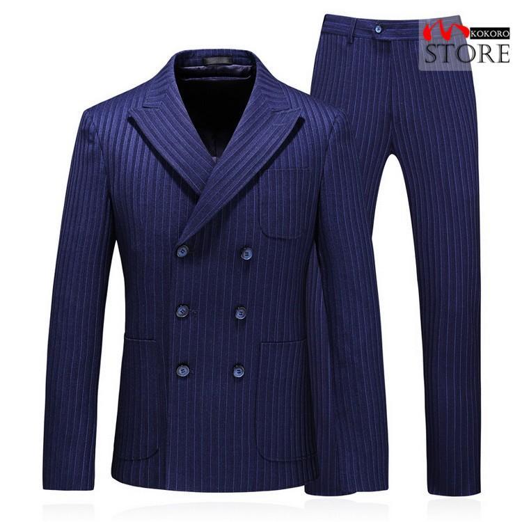 メンズ  3ピーススーツ ダブルスーツ 6つボタン スリーピース スリーピー ビジネススーツ 紳士 ストライプ柄 細身 通勤 結婚式 卒業式 kokoro1090 05