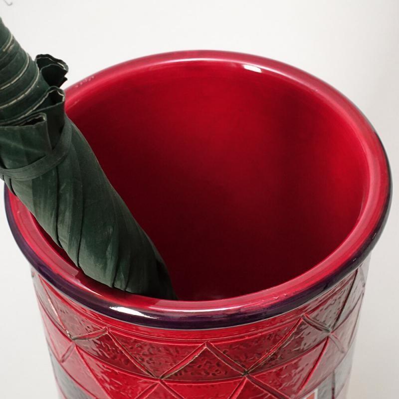イタリア製】陶器製 イタリア製】陶器製 イタリア製】陶器製 アンブレラスタンド 傘立て ジオメトリー レッド レインラック vip-96-2066bl 673