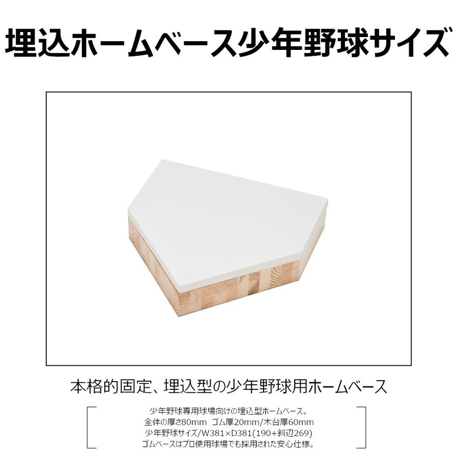 野球ホームベース コクサイ KOKUSAI 木台付ホームベース80 埋め込み 少年用 RB748 1台 送料無料|kokusai-shop|02