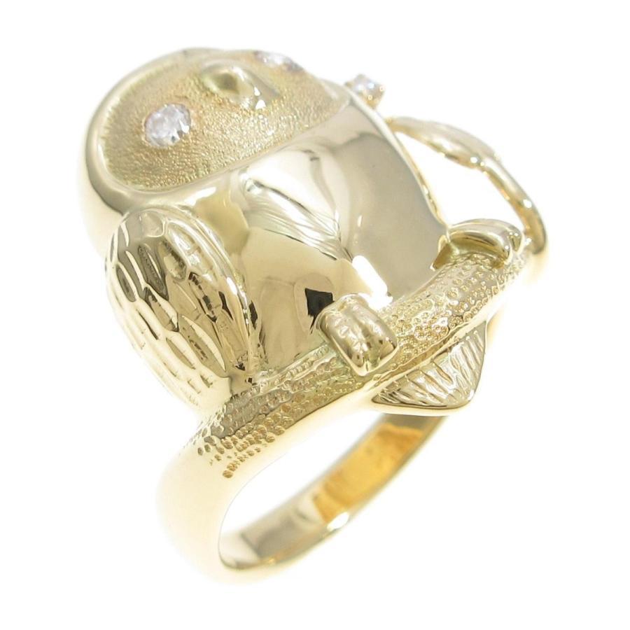 人気が高い  K18YG フクロウ ダイヤモンドリング, エイコShop 84e77950