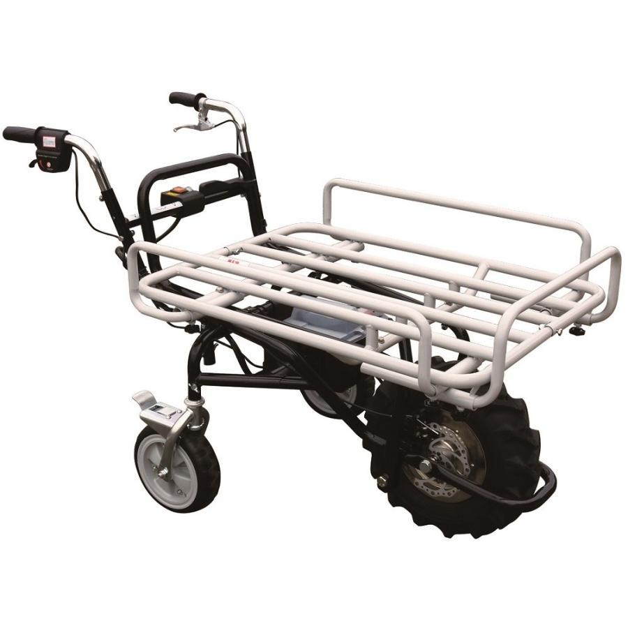 電動アシスト運搬車 3輪タイプ フラット平台仕様 前後進機能付き 不整地タイヤ