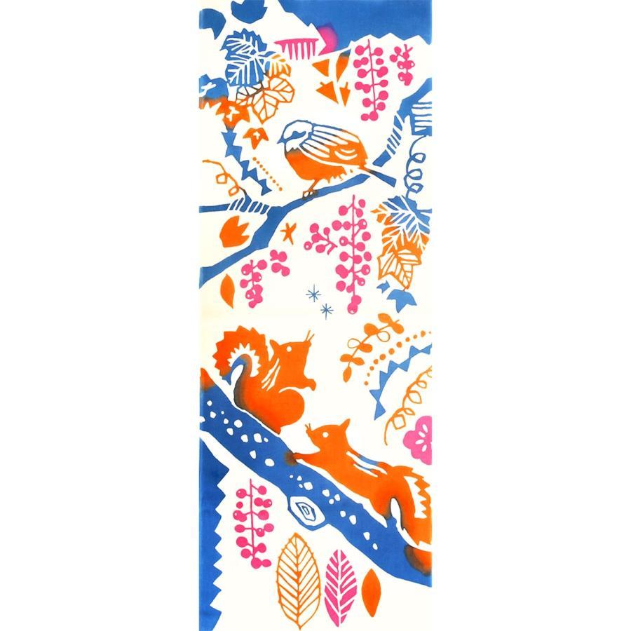 手ぬぐい りすとぶどう 秋 リス 百舌 モズ ぶどう 楓 山 森 動物 本染 注染 日本製 和雑貨 Airashika あいらしか TE-2008-01【メール便6点まで】|komesihci5
