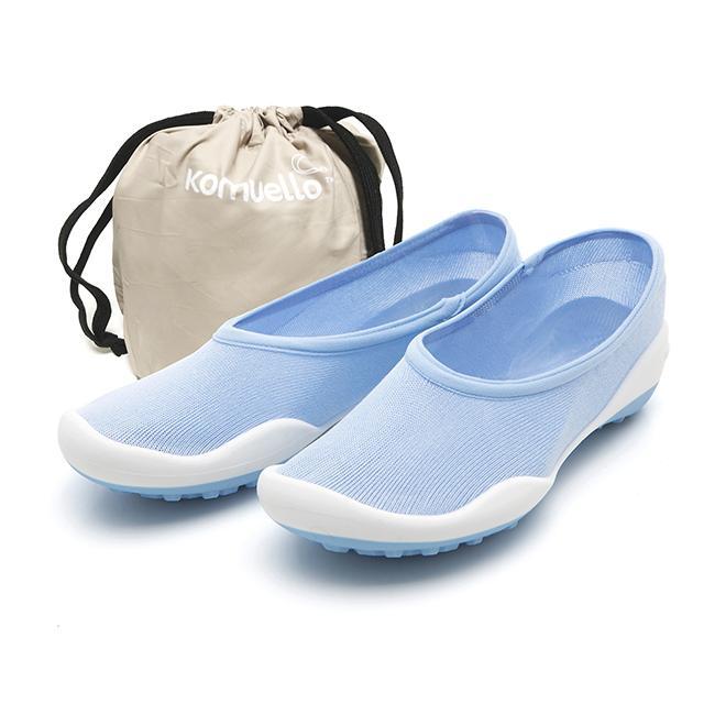 レディースシューズ 超軽量 フラットシューズ オフィスシューズ 「ポケットシューズ」 ポーチに入れ 持ち運び さまざまなシーンで 大活躍 女性靴(ブルー) komuellopoketshoes