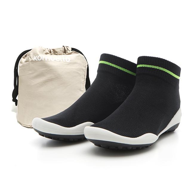 レディースシューズ 超軽量 フラットシューズ オフィスシューズ 「ポケットシューズ」 ポーチに入れ 持ち運び さまざまなシーンで活躍 女性靴(ラインブラック)|komuellopoketshoes