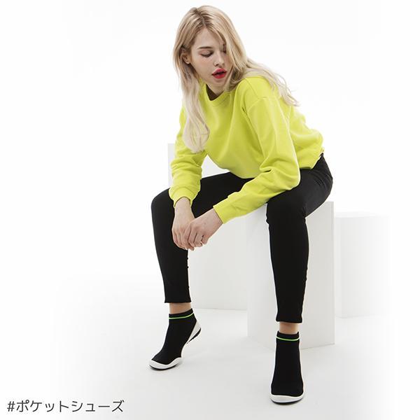 レディースシューズ 超軽量 フラットシューズ オフィスシューズ 「ポケットシューズ」 ポーチに入れ 持ち運び さまざまなシーンで活躍 女性靴(ラインブラック)|komuellopoketshoes|08