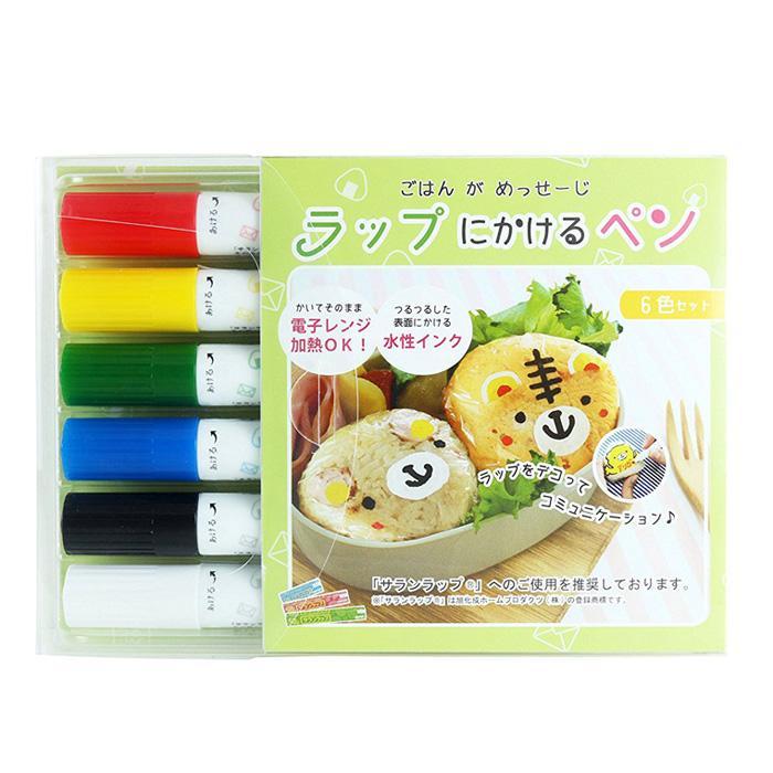 即日出荷 ラップにかけるペン 6色セット ラップに書けるペン お弁当 デコ弁 キャラ弁 メッセージ 話題 サランラップ ペン エポックケミカル 543-0900|konan