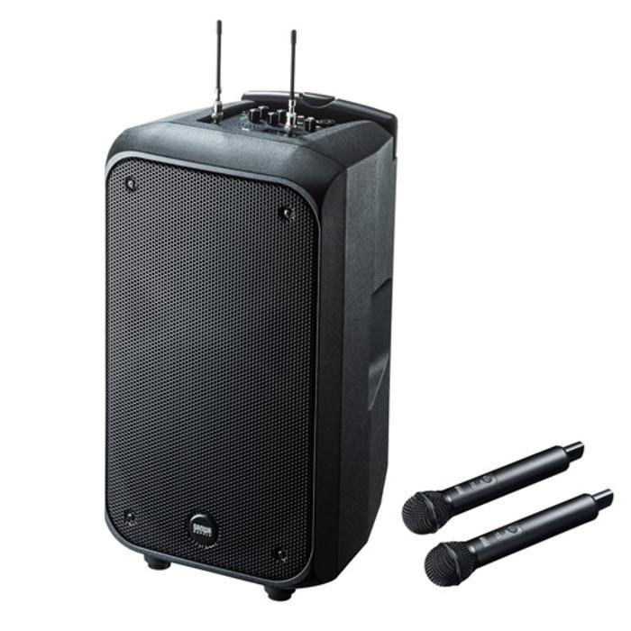 拡声器 スピーカー ワイヤレスマイク付き 最大200Wの大出力で広い会議室や体育館などでも使える 移動に便利なキャスター付き サンワサプライ MM-SPAMP8