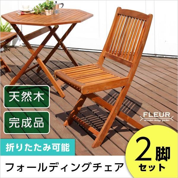 アジアン カフェ風 テラス (FLEURシリーズ)フォールディングチェア 2脚セット