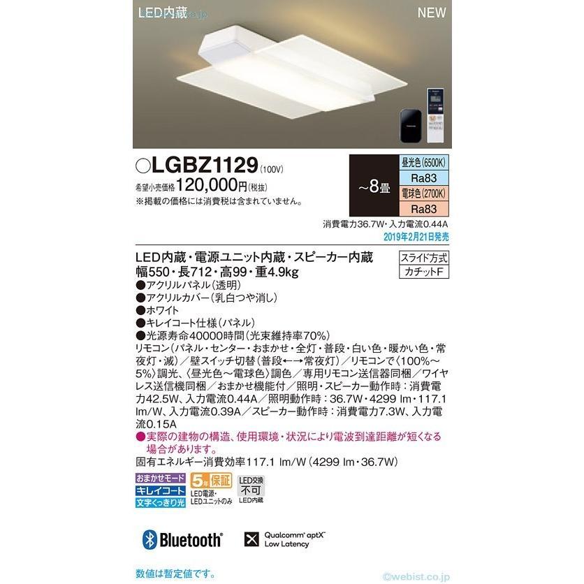 N区分 パナソニック照明器具 LGBZ1129 シーリングライト リモコン付 LED