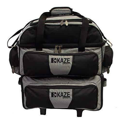 KAZE SPORTS 4ボール ダブルデッキ ボーリングローラー ブラック-グレー【並行輸入品】