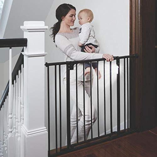 """Toddleroo by North States 38.25"""" Wide Light The Way BabyGate: Heavy Duty Metal gate with Light Sensing LED for Added Safety. Pressure or H"""