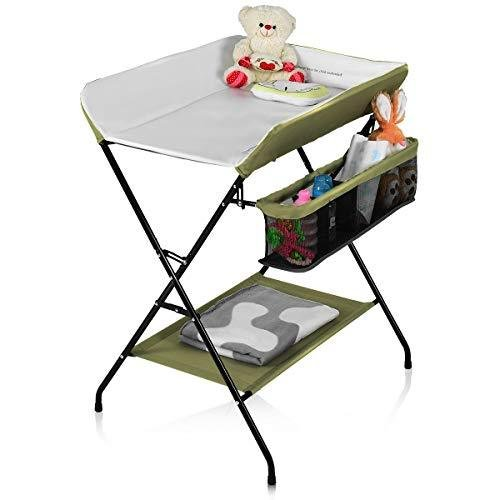 Costzon Baby Changing Table, Folding Diaper Station Nursery Organizer for Infant (Yellow)【並行輸入品】