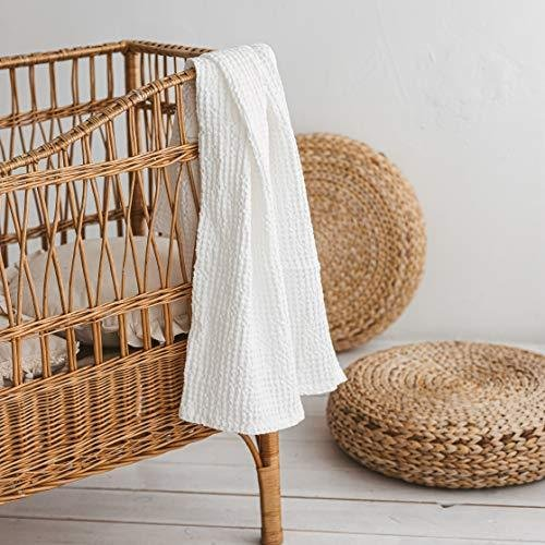 MINICAMP White Baby Bath Sheet - Organic Toddler Waffle Swaddle Blanket - Newborn Swaddling Linen Blankets【並行輸入品】