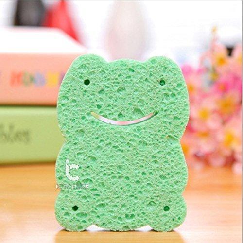 ICYCHEER Baby Shower Sponge Cute Animal Design Baby Bath Sponge Soft Bath Brush Rubbing Towel for Toddler Infant Newborn (thin, frog)【並