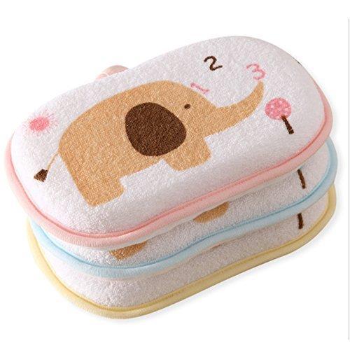 ICYCHEER 1PC Baby Shower Sponge Natural Soft Baby Bath Cotton Sponge Foam Rub Shower Sponge for Toddlers Newborns Random Color【並行輸