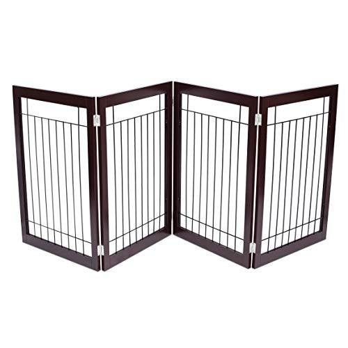 Internet's Best Traditional Wire Dog Gate - 4 Panel - 30 Inch Tall Pet Puppy Safety Fence - Fully Assembled - Durable MDF - Stairs Folding