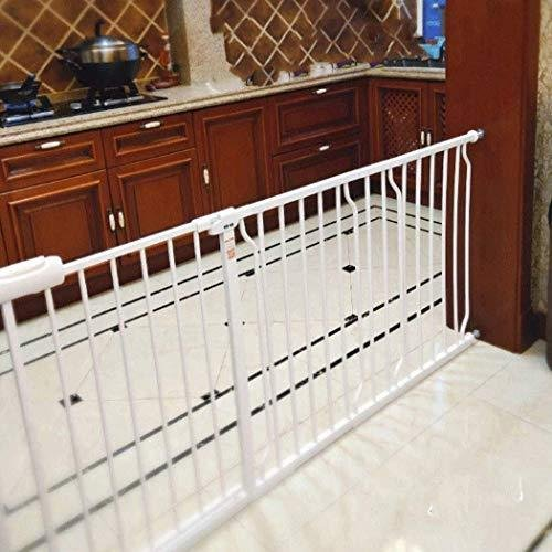 GOHHK Security Door Gate Pet Dog Fence Isolation Baby Child Baby Stairway Fence Indoor Balcony (Color : White, Size : 242~253.9cm)【並行