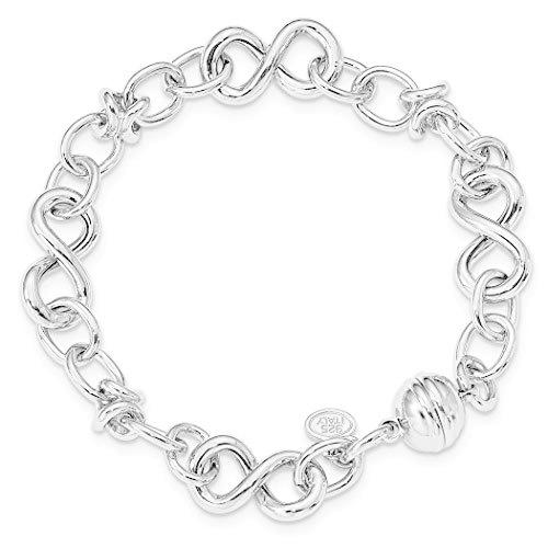 6.16mm 925 Sterling Silver Rhodium plated Polished Fancy Link Bracelet 8 Inch Jewelry Gifts for Women【並行輸入品】