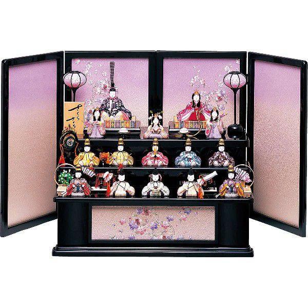 雛人形 三段飾り 三段収納飾り ひな人形 木目込み人形 木目込み 一秀 「一秀作 さくらさくらシリーズ 三段飾り 十五人飾り」 人形広場