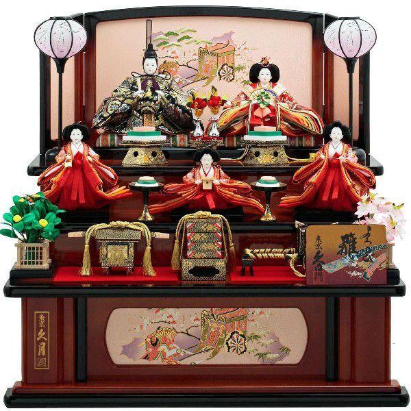 ひな人形 雛人形 2019年 名入れ木札 久月 雛 三段飾り 十二単雛 五人飾り(三人官女付) 新作