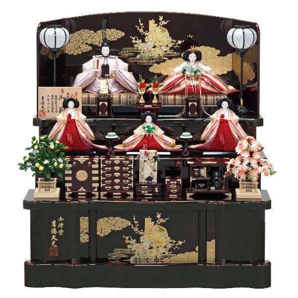 ひな人形 雛人形 2019年 名入れ木札 吉徳 三段飾り 五人飾り 江都みやび 御雛 五人揃え 新作