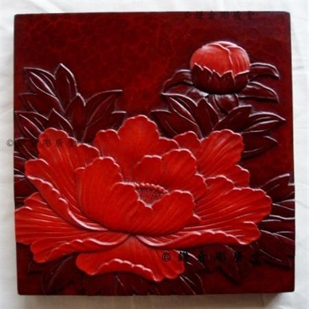 鎌倉彫 壁飾り パネル 七寸×七寸 牡丹