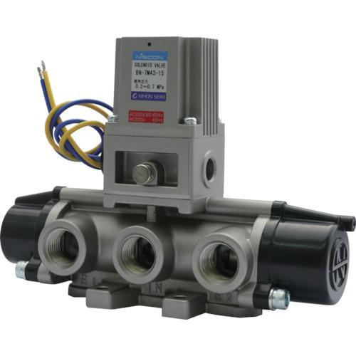 日本精器 4方向電磁弁15AAC200V7Mシリーズシングル (1台) 品番:BN-7M43-15-E200
