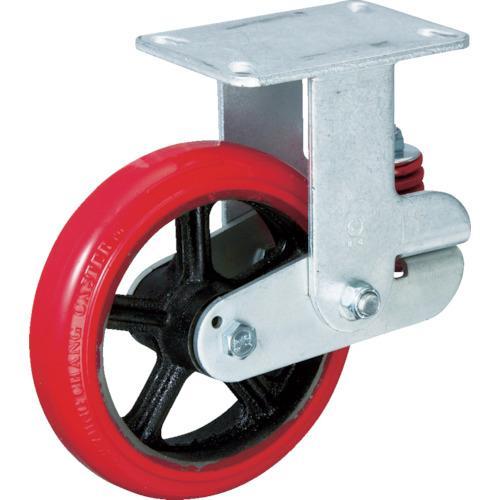 イノアック バネ付き牽引車輪(ウレタン車輪タイプ 固定金具付 Φ150) (1個) 品番:KTU-150WK-RS