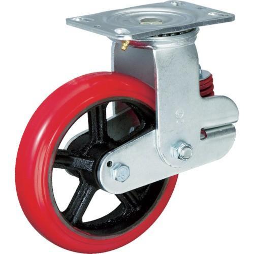 イノアック バネ付き牽引車輪(ウレタン車輪タイプ 自在金具付 Φ200) (1個) 品番:KTU-200WJ-YS