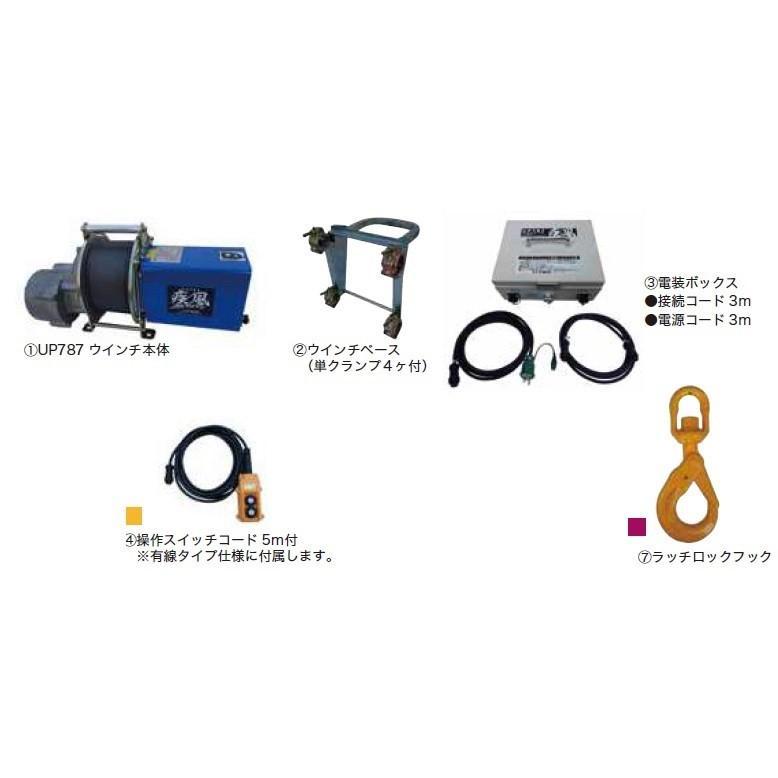 ユニパー 疾風(はやて)ウインチ UP787A-100L (有線タイプ)
