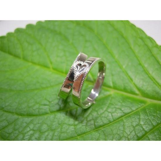 プラチナ 結婚指輪【本物の鍛造】2本の指輪を合わせると 可愛いミル打ちのハートに|kouki|03