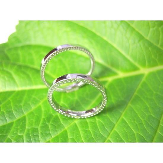 プラチナ 結婚指輪【本物の鍛造】指輪の側面にミル打ち!細めで華奢な平打ちデザインが素敵!|kouki|04