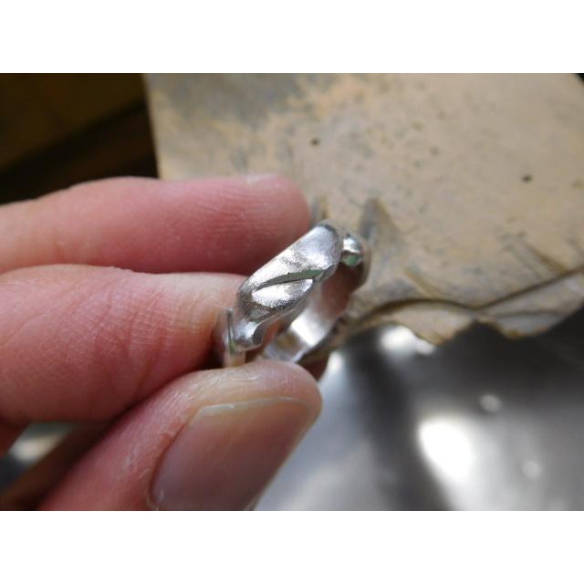 プラチナ 結婚指輪【本物の鍛造】丸みを帯びた可愛い羽根のデザイン!2種類の羽根を組み合わせたデザイン|kouki|15