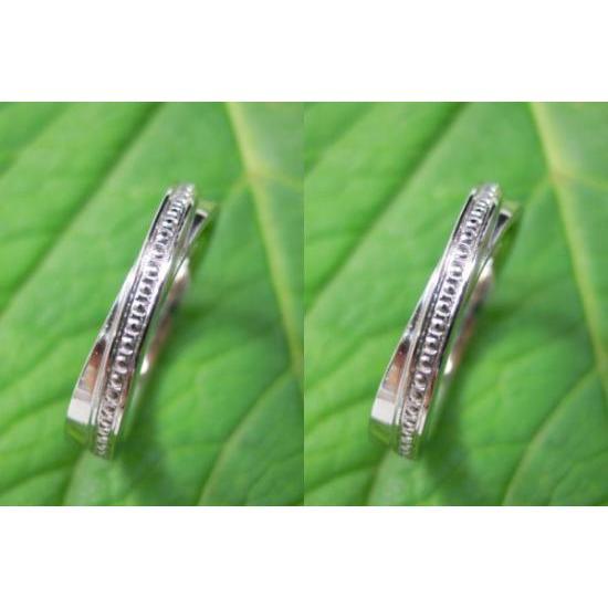 プラチナ 結婚指輪【本物の鍛造】二連デザインにミル打ちを入れる!ミル打ちがダイヤに見えてGOOD|kouki|02