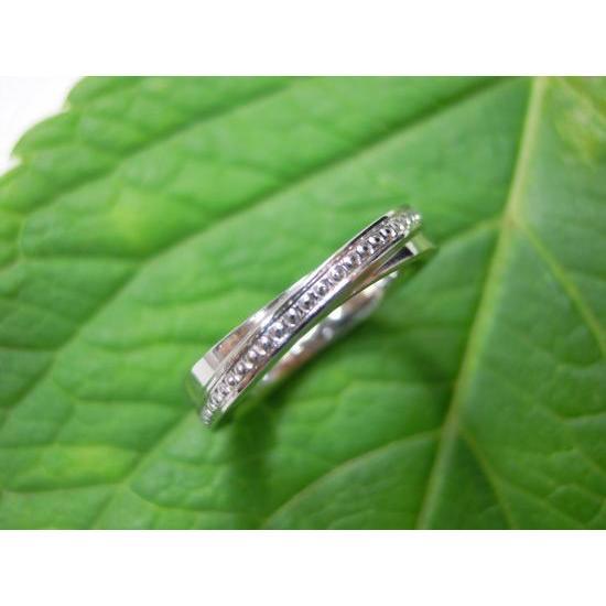 プラチナ 結婚指輪【本物の鍛造】二連デザインにミル打ちを入れる!ミル打ちがダイヤに見えてGOOD|kouki|03