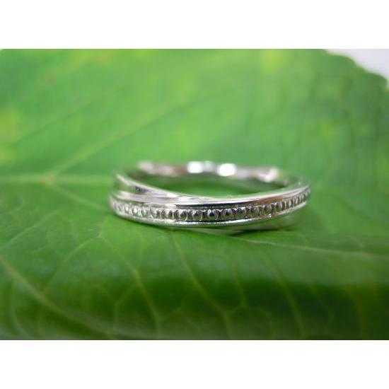 プラチナ 結婚指輪【本物の鍛造】二連デザインにミル打ちを入れる!ミル打ちがダイヤに見えてGOOD|kouki|04