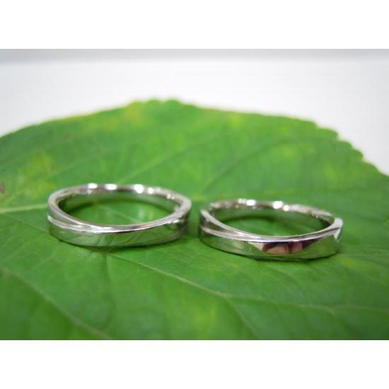 プラチナ 結婚指輪【本物の鍛造】二連デザインにミル打ちを入れる!ミル打ちがダイヤに見えてGOOD|kouki|05